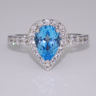 18ct white gold blue topaz and diamond ring