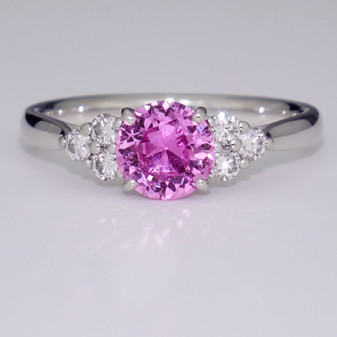 Platinum pink sapphire and diamond ring