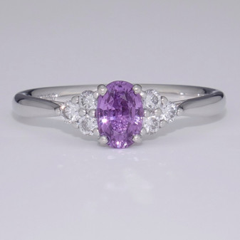 Platinum purple sapphire and diamond ring