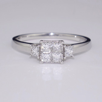 Platinum princess cut cluster ring