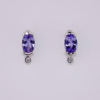 9ct gold tanzanite and diamond stud earrings