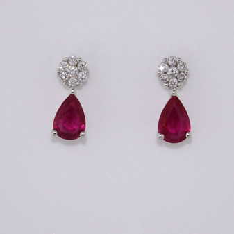 18ct whtie gold ruby and diamond earrings