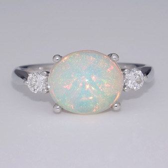 9ct white gold opal and diamond ring