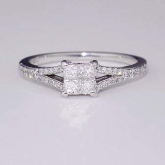 Platinum princess cut diamond cluster ring