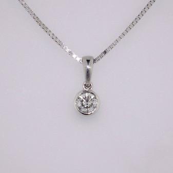 9ct white gold diamond rubover pendant