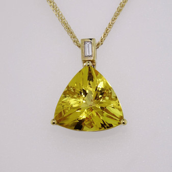 Unique gold pendant with heliodor pendant with baguette cut diamond bail