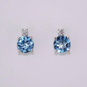 9ct white gold blue topaz and diamond stud earrings