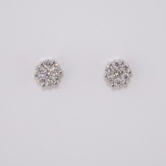 9ct white gold diamond cluster stud earrings