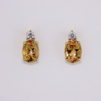 18ct gold Imperial topaz and diamond stud earrings