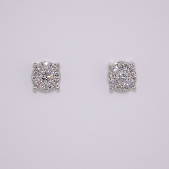 18ct white gold diamond cluster stud earrings
