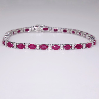 9ct white gold ruby and diamond bracelet