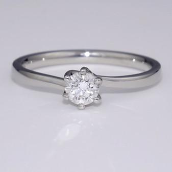 Platinum D colour diamond twist solitaire ring