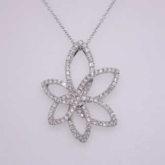 18ct white gold diamond abstract flower pendant