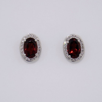 9ct white gold oval garnet and diamond cluster earrings