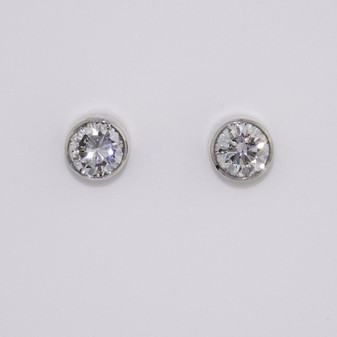 18ct white gold round brilliant cut diamond stud earrings