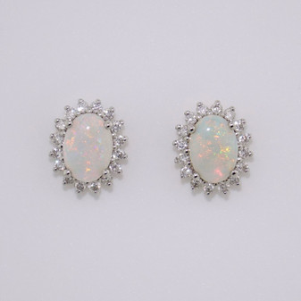 18ct gold opal and diamond cluster stud earrings
