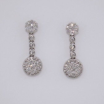 9ct white gold diamond cluster drop earrings
