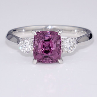 Platinum natural spinel and diamond ring