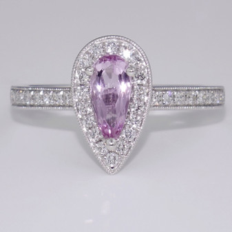Platinum natural pink topaz and diamond ring