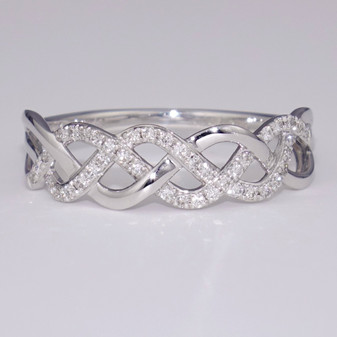 9ct white gold Celtic weave ring