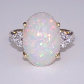 9ct gold Ethiopian water opal and diamond ring
