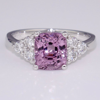 Platinum cushion cut natural pink spinel and diamond ring