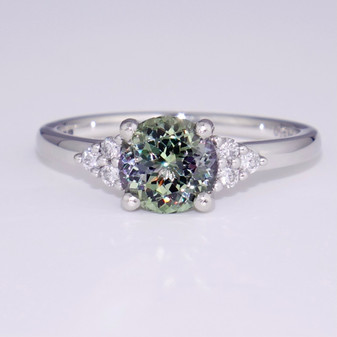 Platinum green tanzanite and diamond ring