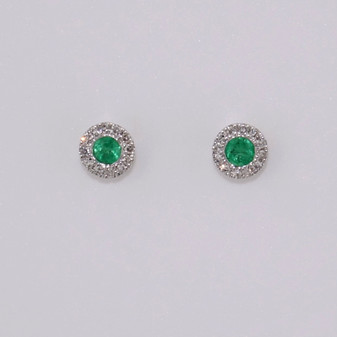 9ct white gold emerald and diamond cluster stud earrings