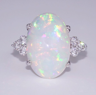 18ct white gold large Ethiopian water opal and diamond ring