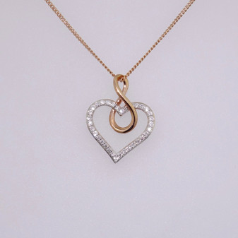 9ct rose gold diamond heart and figure of eight pendant