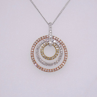 9ct three colour gold pendant with diamonds and diamond-set bail