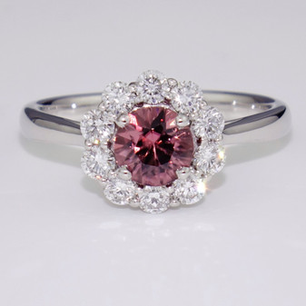 18ct white gold pink zircon and diamond ring