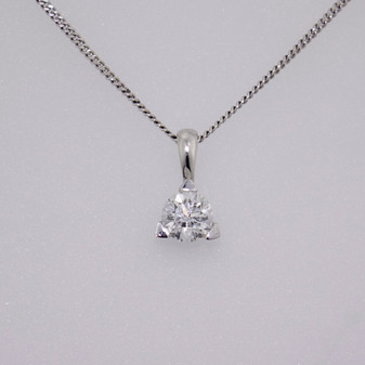 18ct white gold round brilliant cugt diamond solitaire pendant with three claws