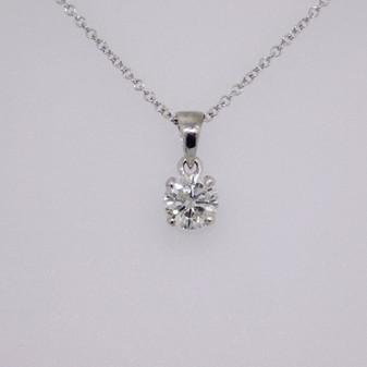 18ct white gold round brilliant cut diamond solitaire pendant