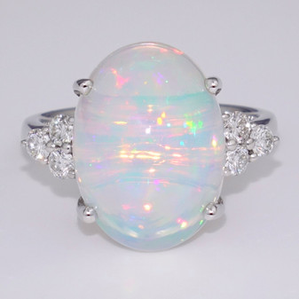 9ct white gold oval cut Ethiopian water opal and diamond ring