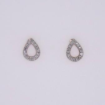 9ct rose gold diamond-set open pear stud earrings