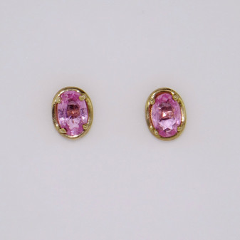 9ct gold oval cut pink sapphire stud earrings