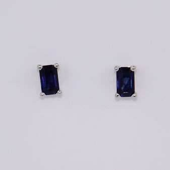 9ct white gold emerald cut sapphire stud earrings