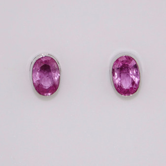 9ct white gold oval cut pink sapphire stud earrings