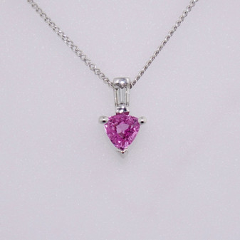 9ct white gold trillion cut pink sapphire and baguette cut diamond pendant