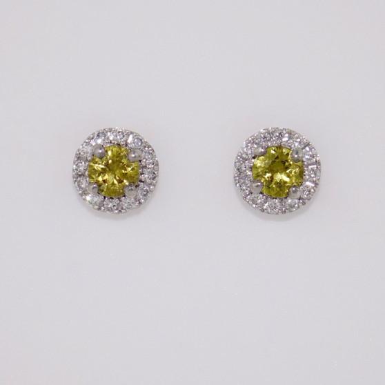9ct white gold Mali garnet and diamond cluster stud earrings ER10901