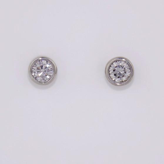 9ct white gold diamond earrings  in rubover settings ER10724