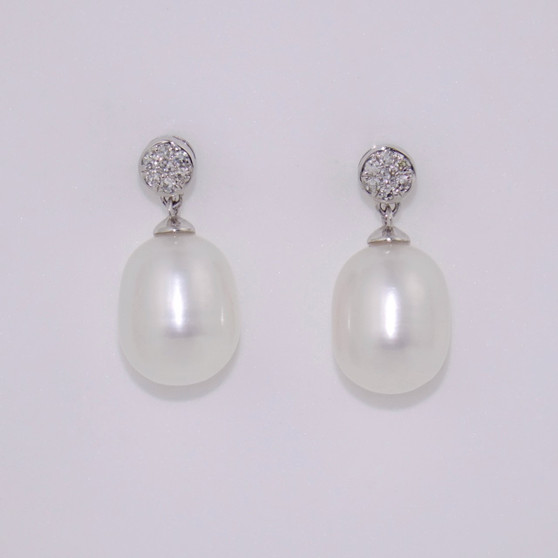 9ct white gold pearl and diamond drop earrings