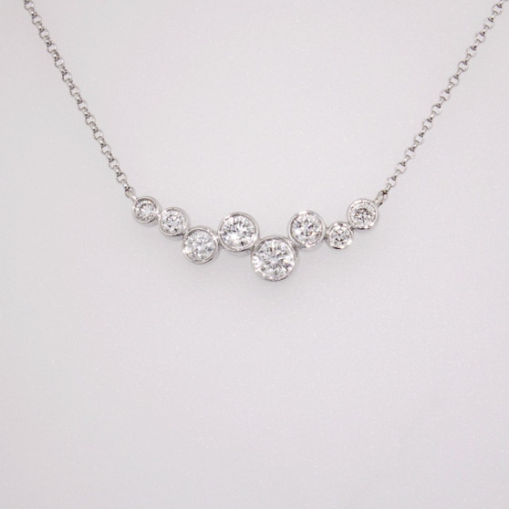 18ct white gold diamond bubble necklace