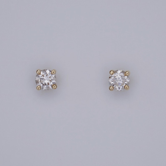 18ct gold round brilliant cut diamond solitaire stud earrings
