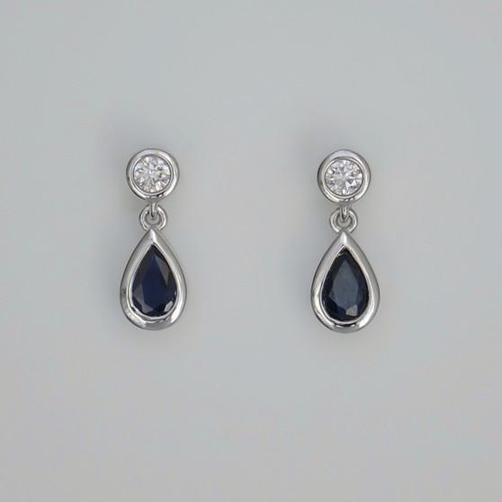 9ct white gold pear cut sapphire and round brilliant cut diamond drop earrings