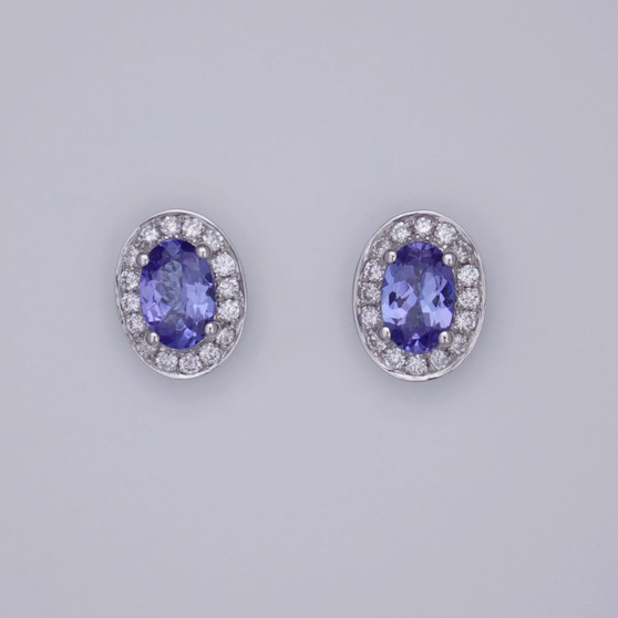 18ct white gold oval cut tanzanite and diamond cluster stud earrings