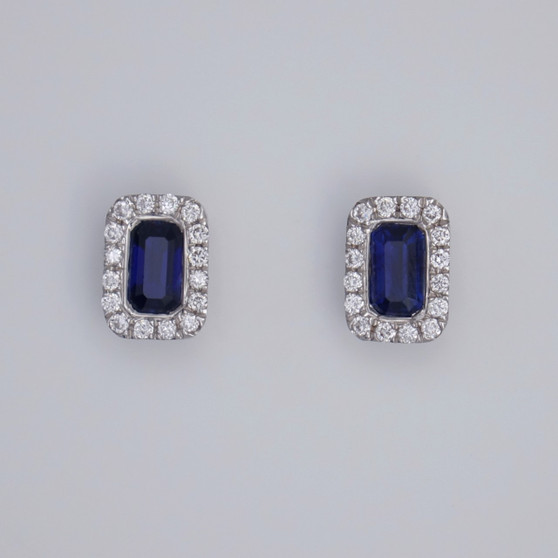 18ct gold emerald cut sapphire and diamond cluster stud earrings