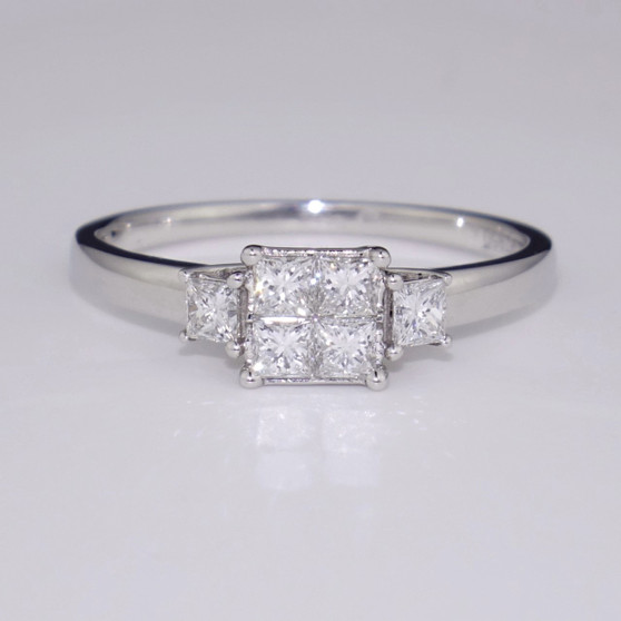 Platinum princess cut cluster ring
