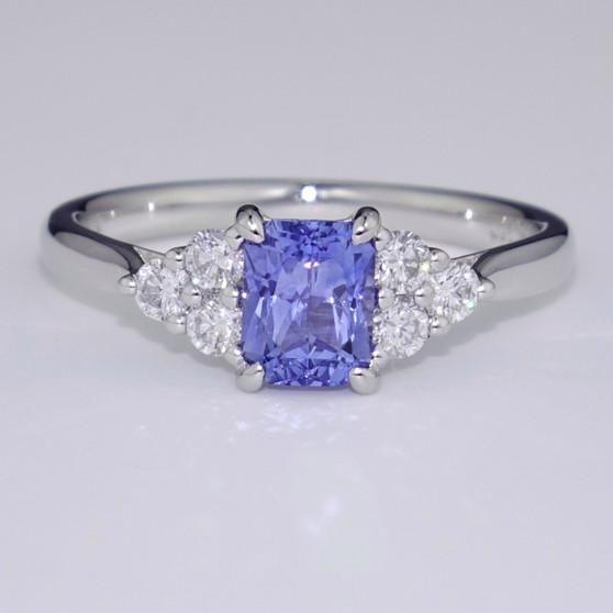 Platinum scissor cut sapphire and diamond ring